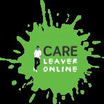 Abbildung Logo Care Leaver online: Ein gruener Farbklecks mit der Schrift Care Leaver online