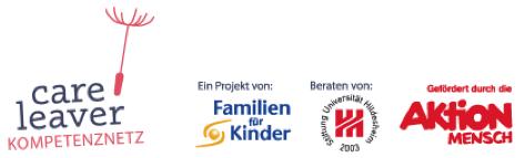 Logos Foerderer Careleaver Kompetenznetz Familien fuer Kinder Universitaet Hildesheim Aktion Mensch